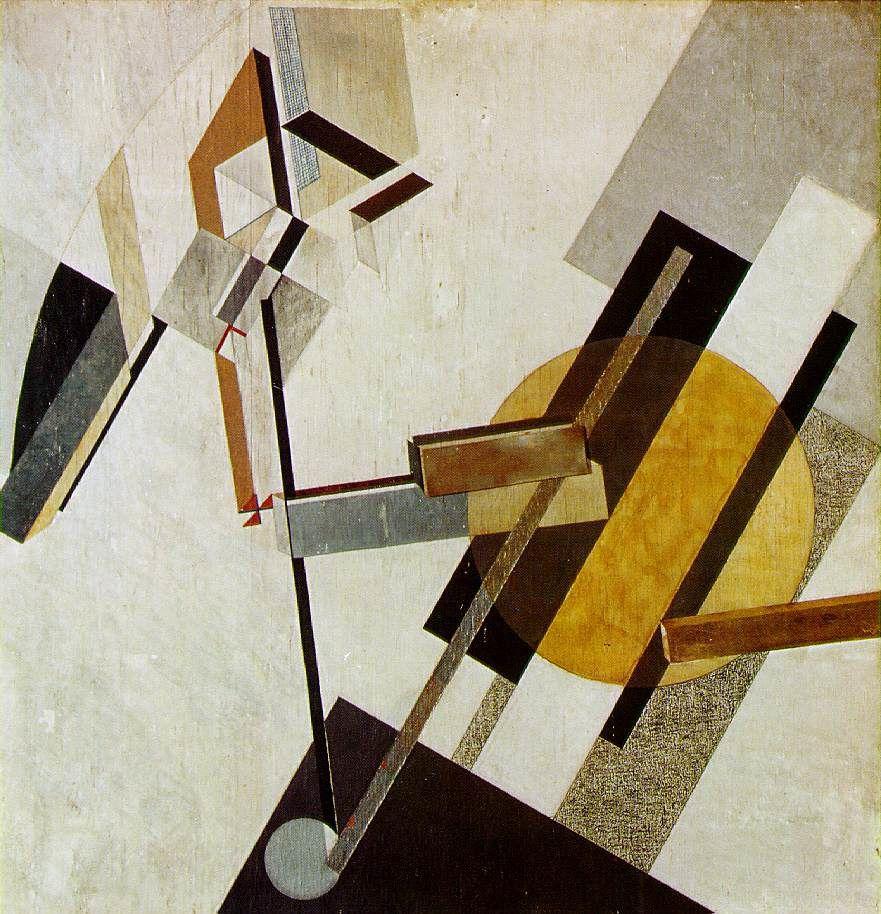 El Lissitsey, Proun 19D, 1922 - Combinaison de formes géométriques dans un espace neutre, pas de sentiments, l'œuvre est un objet.