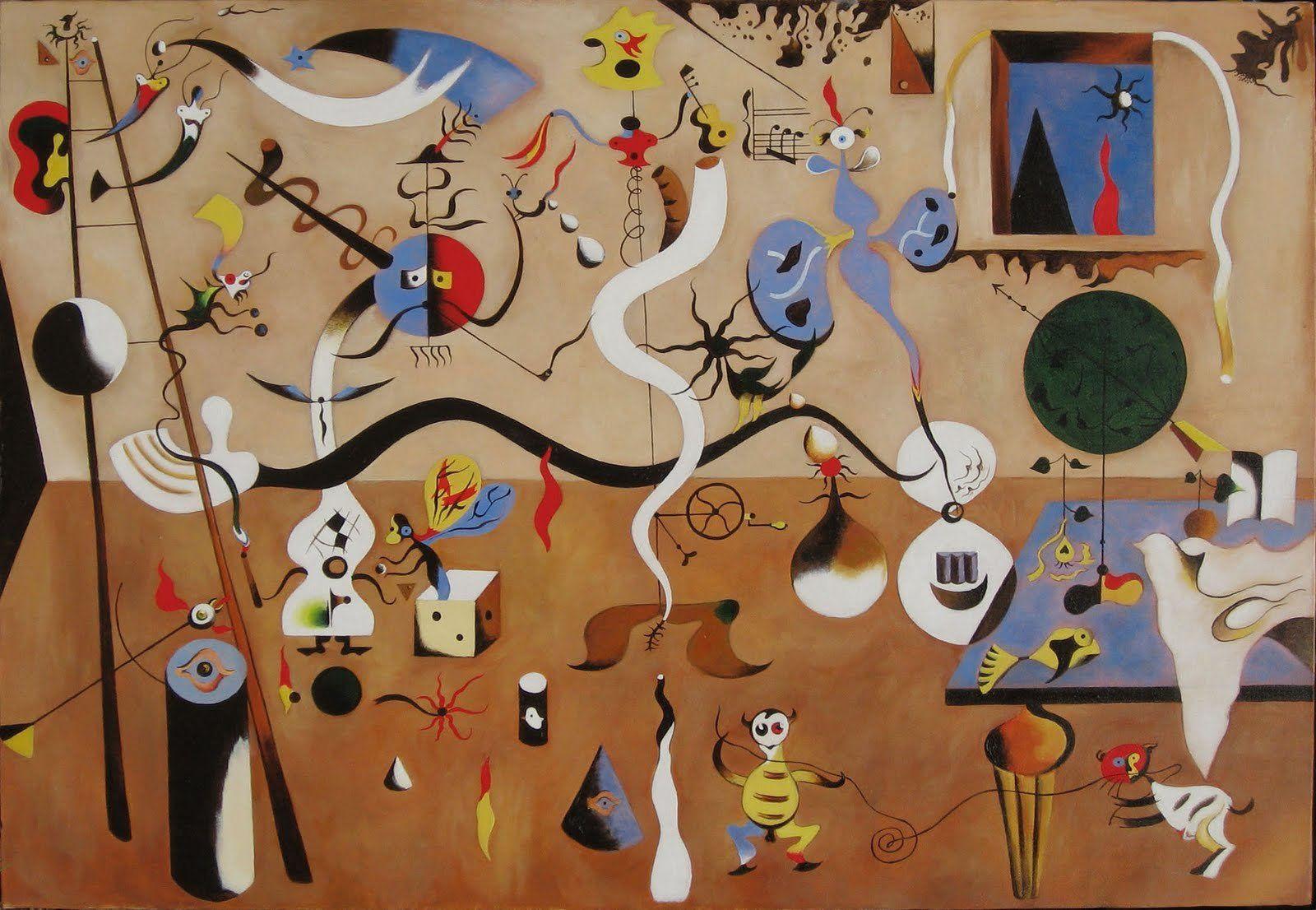 Joan Miró, Carnaval d'Arlequin, 1925 : Travail de formes, désoriente le spectateur, hybride, déformation, … rêve, fantasme… L'artiste crée l'univers qui reflète l'inconscient.