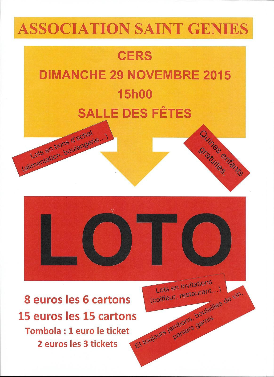 cers dimanche 29 novembre 2015 loto st geni s cers mon village. Black Bedroom Furniture Sets. Home Design Ideas