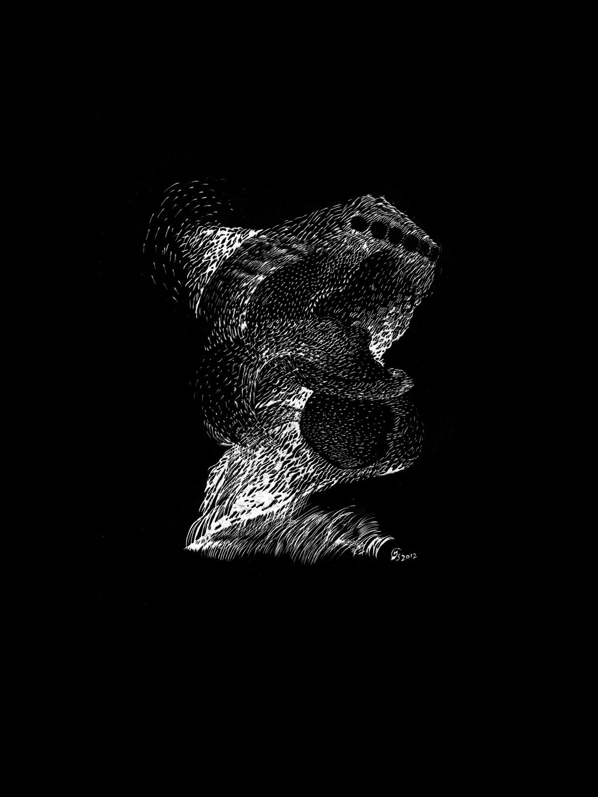 Segno #1-#10, gravures sur cartes à gratter, noires, 24 x 32 cm, Yann Bagot 2011.
