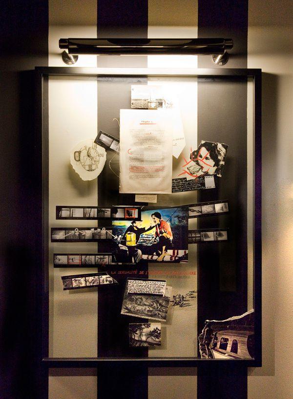 Collage et posca sur vitre, format 60 x 80 cm, Yann Bagot 2010