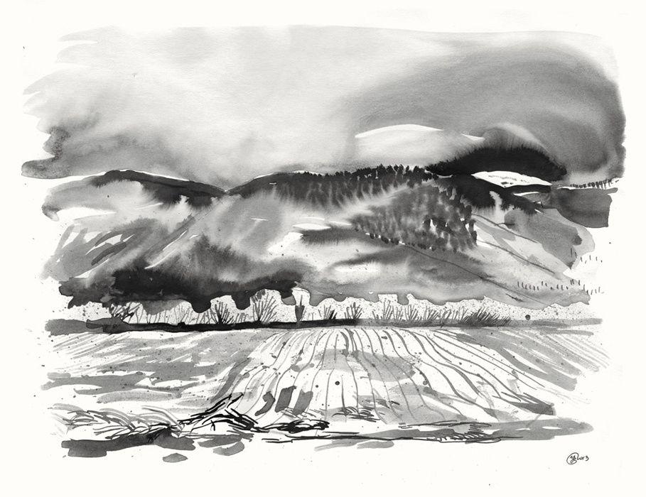 Pays de Geix, Encres de chine et mine de plomb sur papier, 24 x 32 et 36 x 48 cm, janvier 2013
