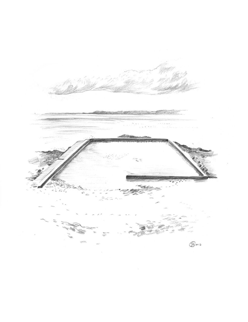 Mirages, encres de chine sur papier, 36 x 48 cm et 24 x 32 cm, à Cancale, Septembre 2012