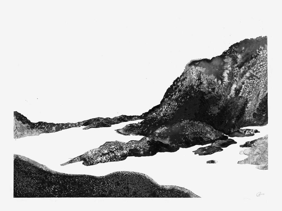 Equinoxes, encres de chine sur papier, 36 x 48 et 56 x 76 cm, à Cancale, Mars 2013