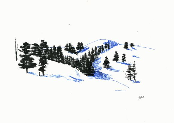 Vallée de Serre-Chevalier et fort de Briançon, encre de chine et crayons sur papier, 29,7 x 21 cm, janvier 2013