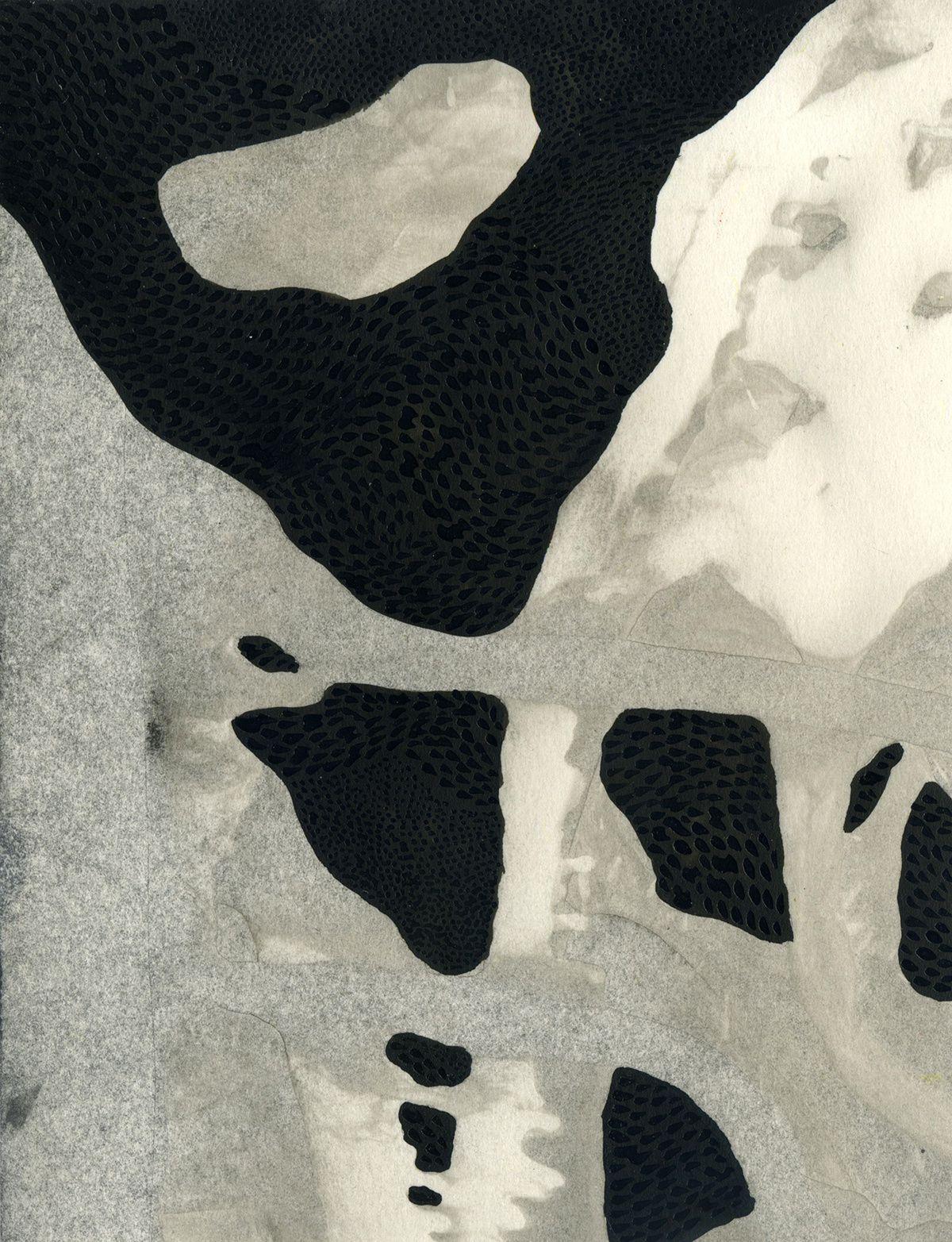 Arcanes #01-#05, encre de chine et gouache sur papier, 12, 5 x 15, 7 cm, Yann Bagot 2014.