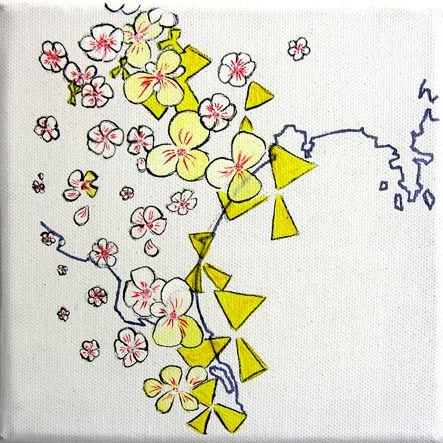 Hanami versus Nukes n°2 - technique mixte et acrylique sur toile - 15 x 15 cm - juillet 2012