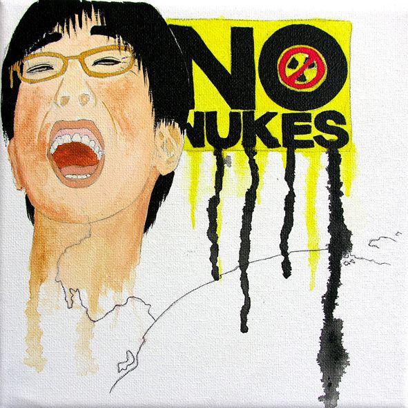 No Nukes - technique mixte et acrylique sur toile - 20 x 20 cm - août 2012