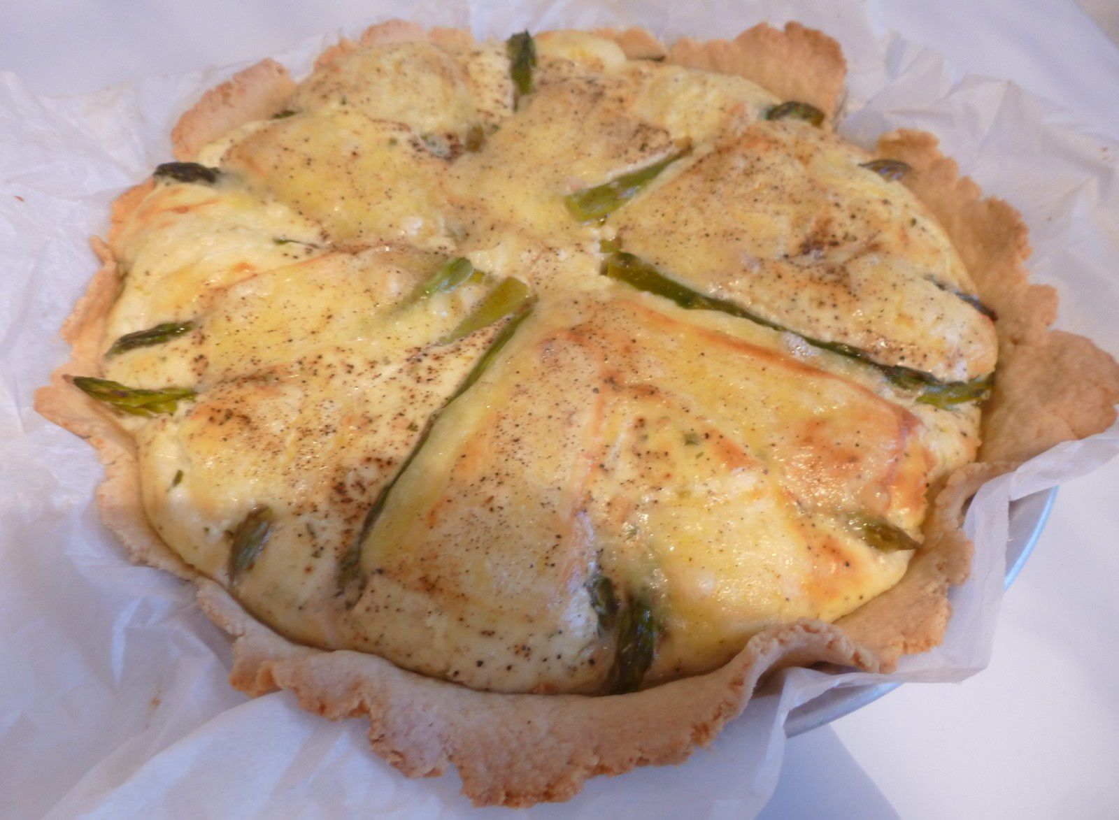 tarte faisselle,asperges vertes et vieux Samer