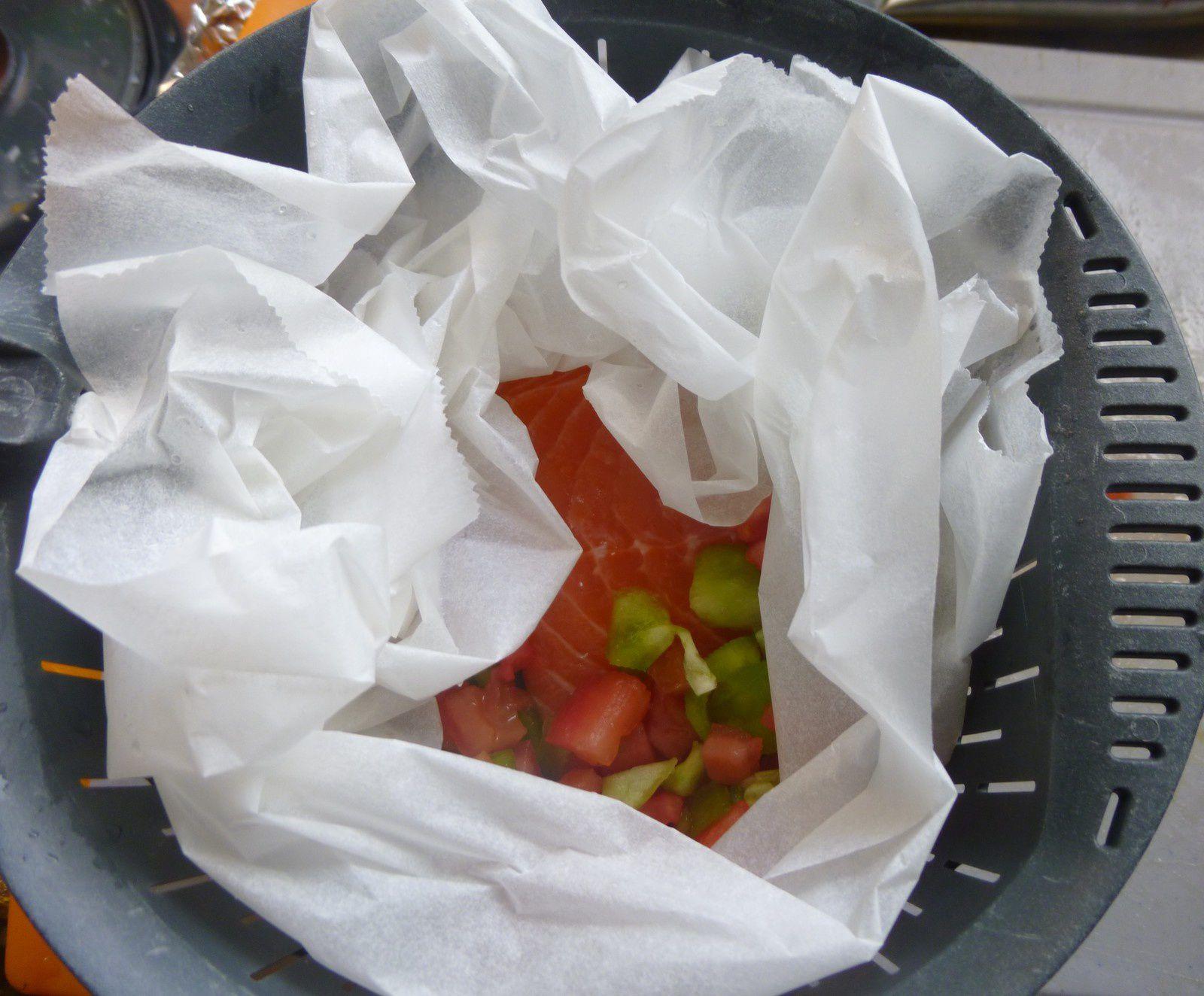 saumon et petits légumes vapeur,crème de potimarron pour mon petit Maxou
