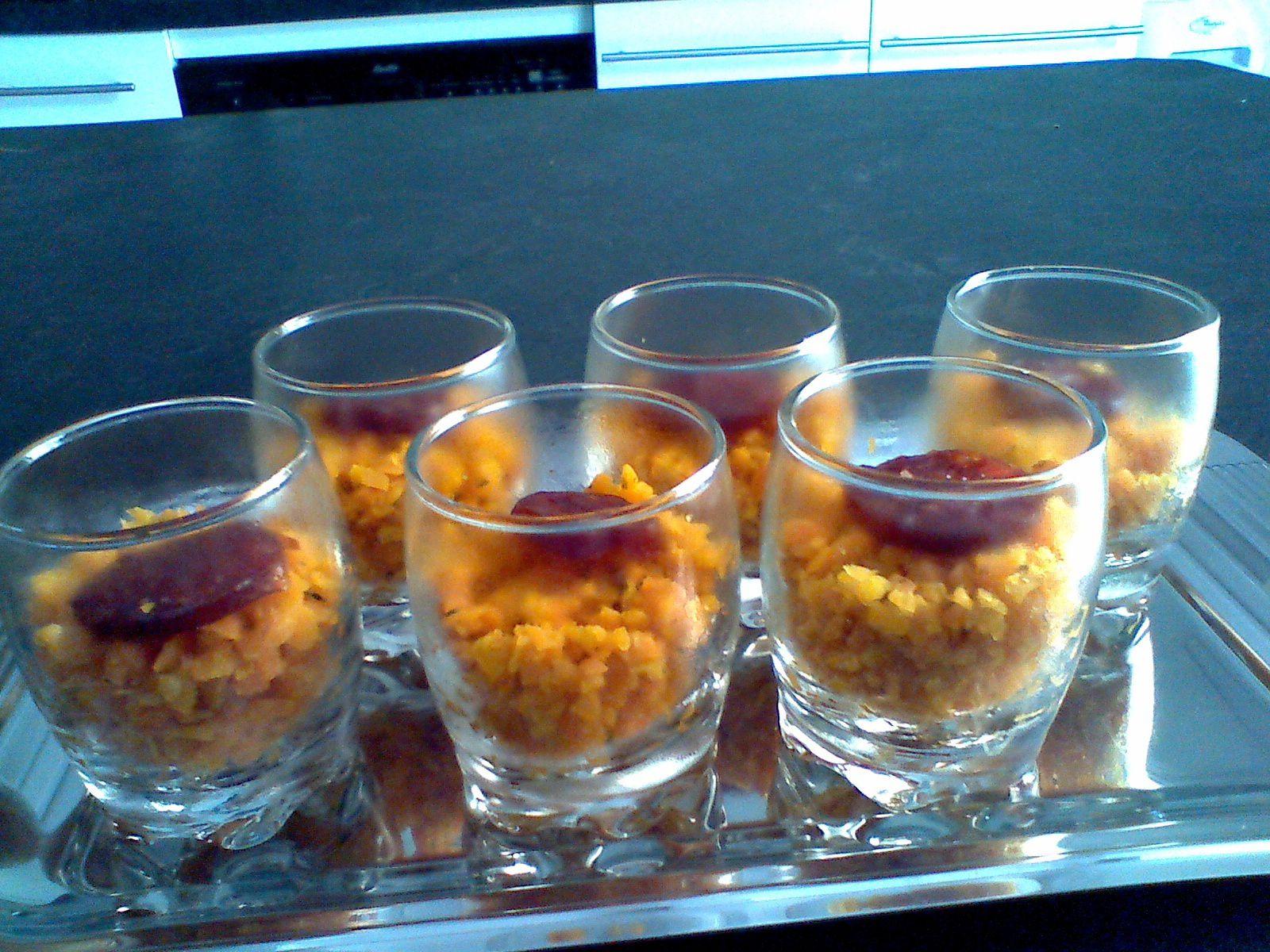 verrines de carottes à la marocaine ,crème de chorizo