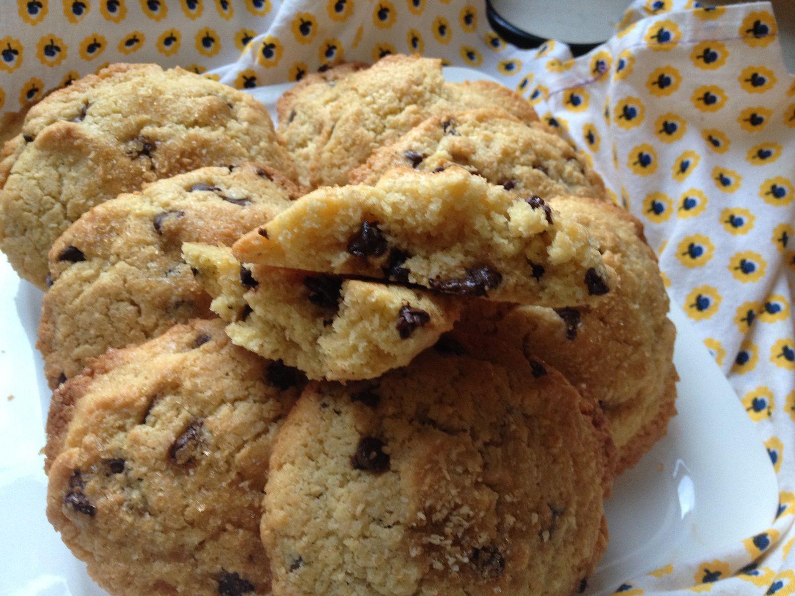 cookies sablés à la noix de coco et pépites de chocolat (pour utiliser des jaunes d'oeuf)