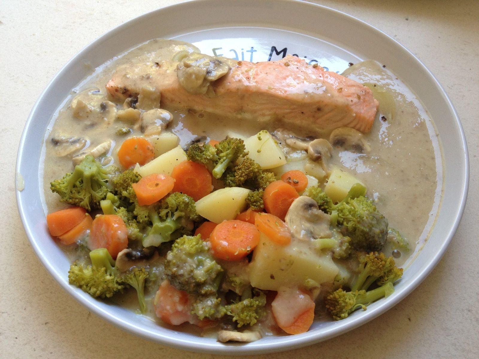 repas léger complet:saumon,sauce champignons et ses légumes TM5