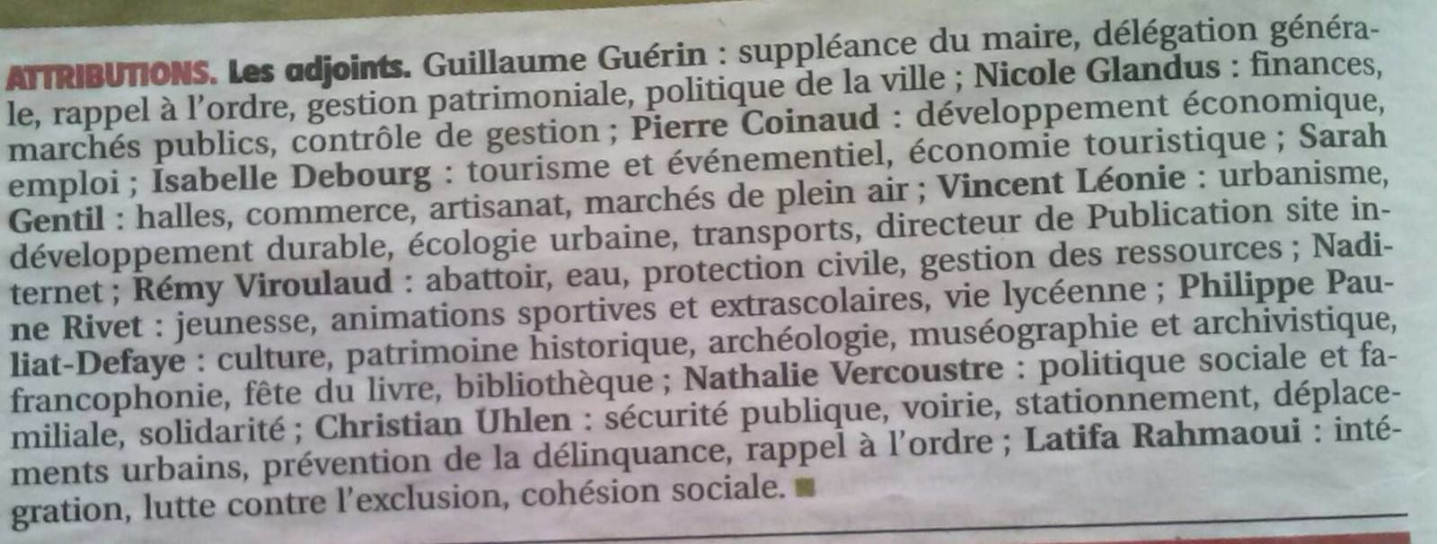 Attributions des adjoints, dommage...