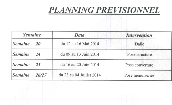 planning remis par PASCOBOIS