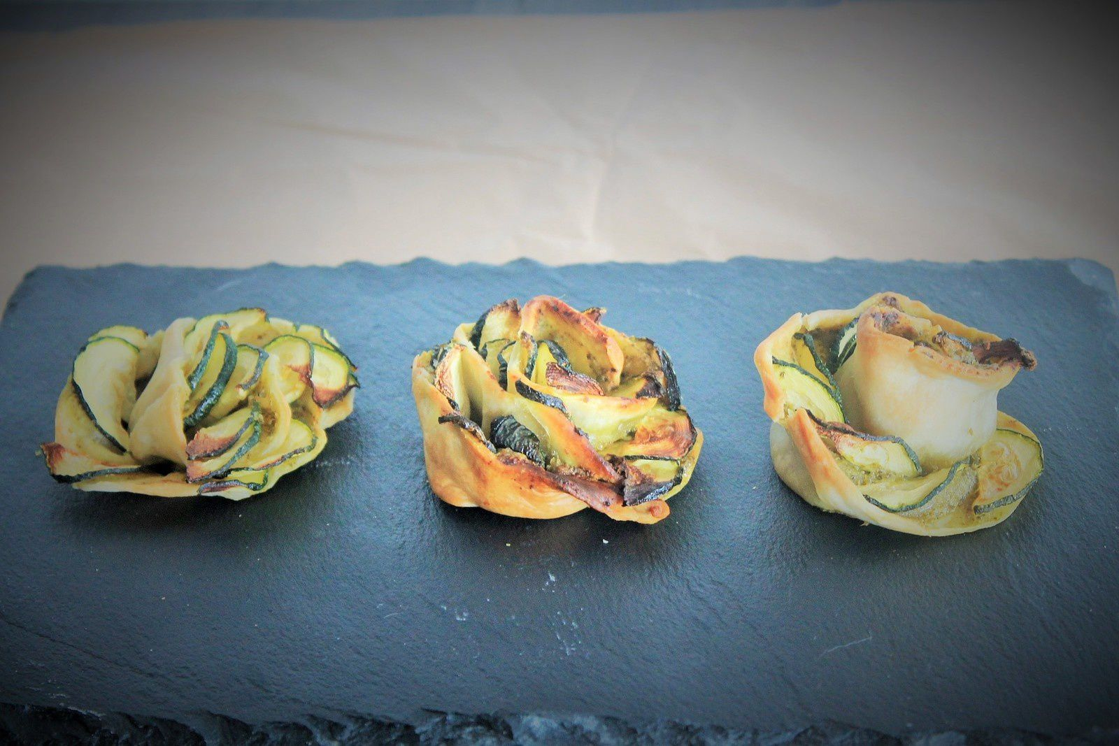mini tartelettes courgettes pesto