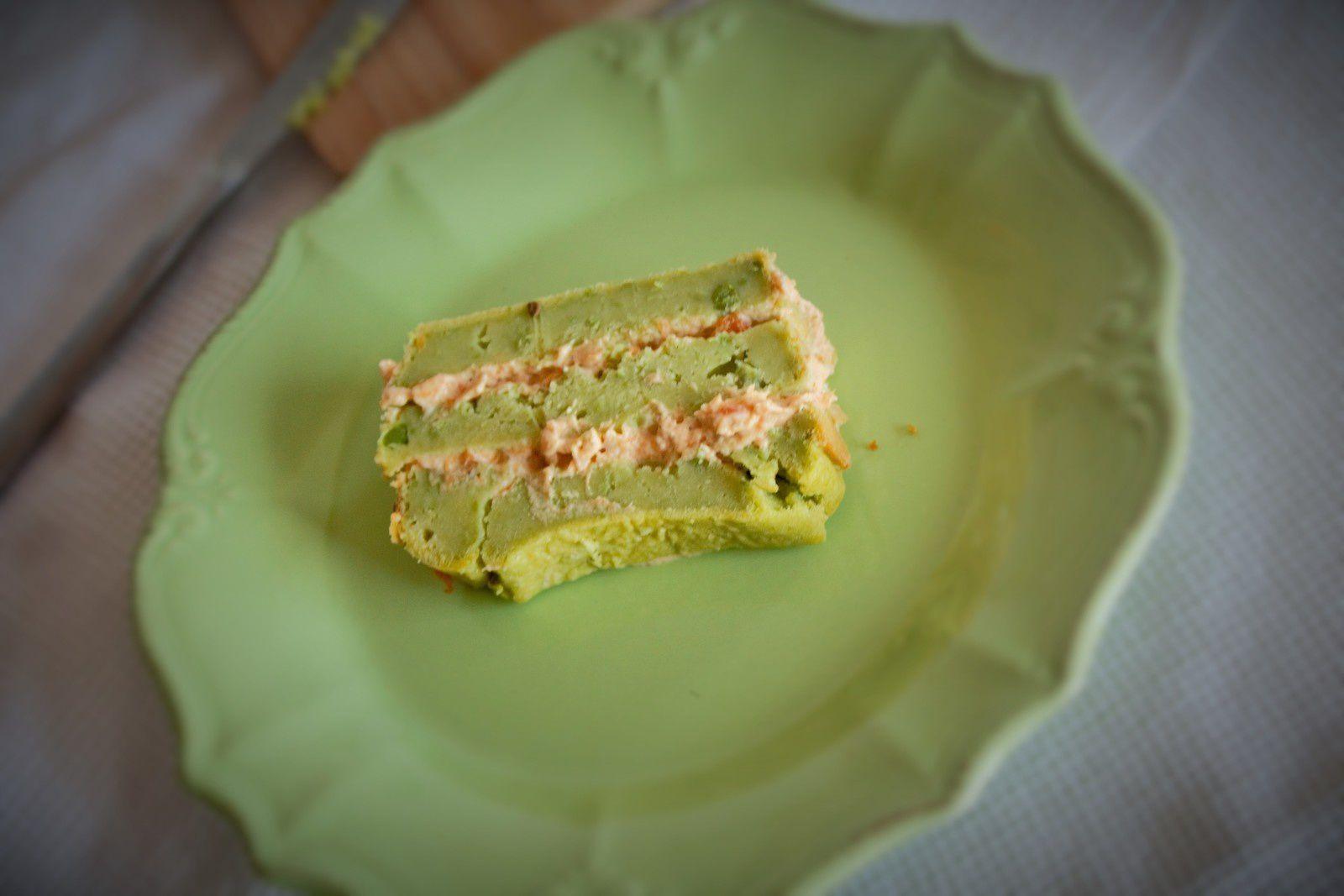 Cake petit pois et crème de carotte épicée