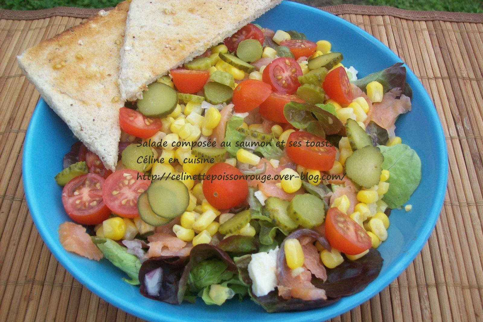 Salade compos e saumon et ses toasts c line en cuisine for Salade pour accompagner poisson