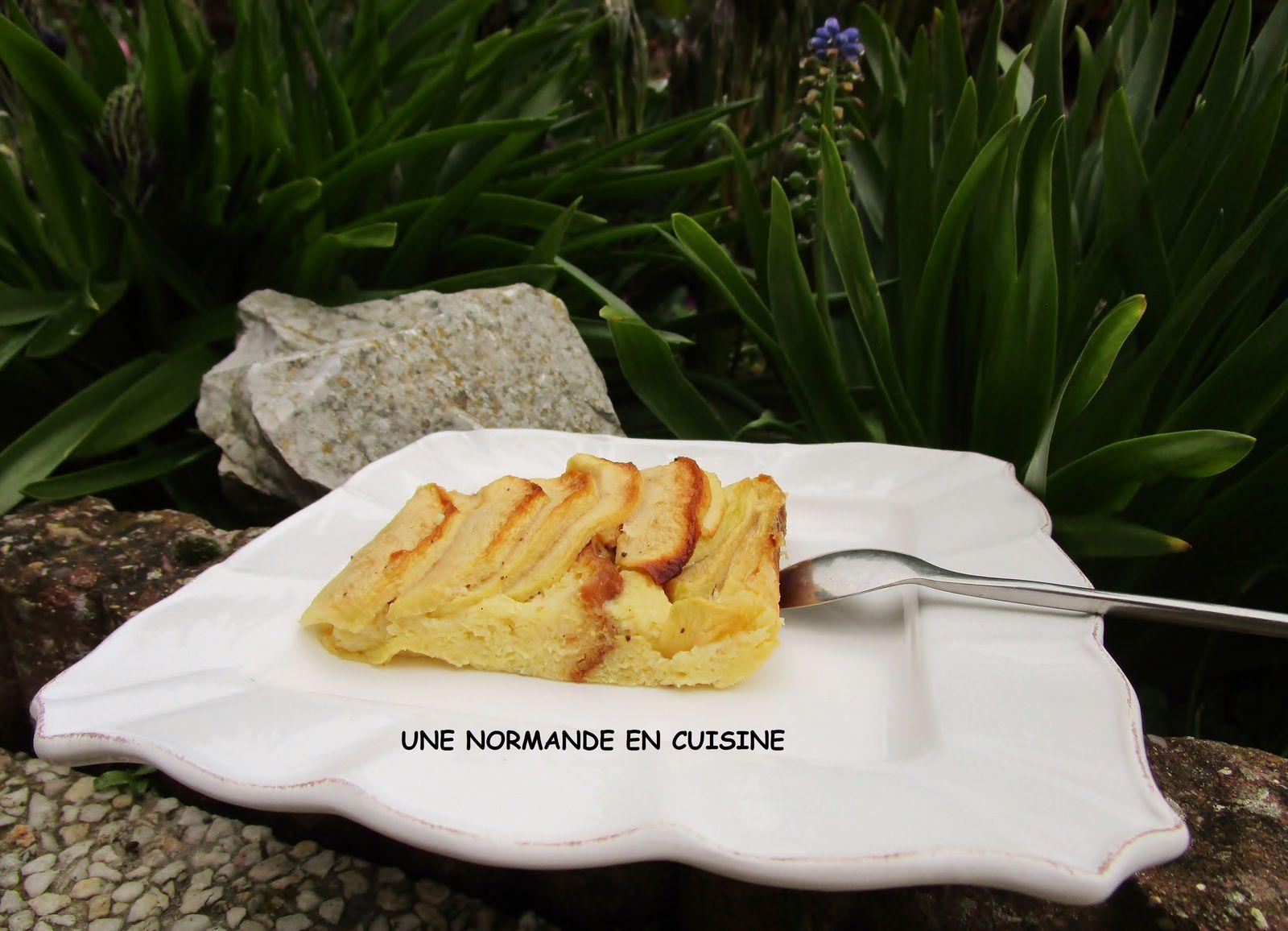 tarte aux pommes fa on pain perdu une normande en cuisine. Black Bedroom Furniture Sets. Home Design Ideas