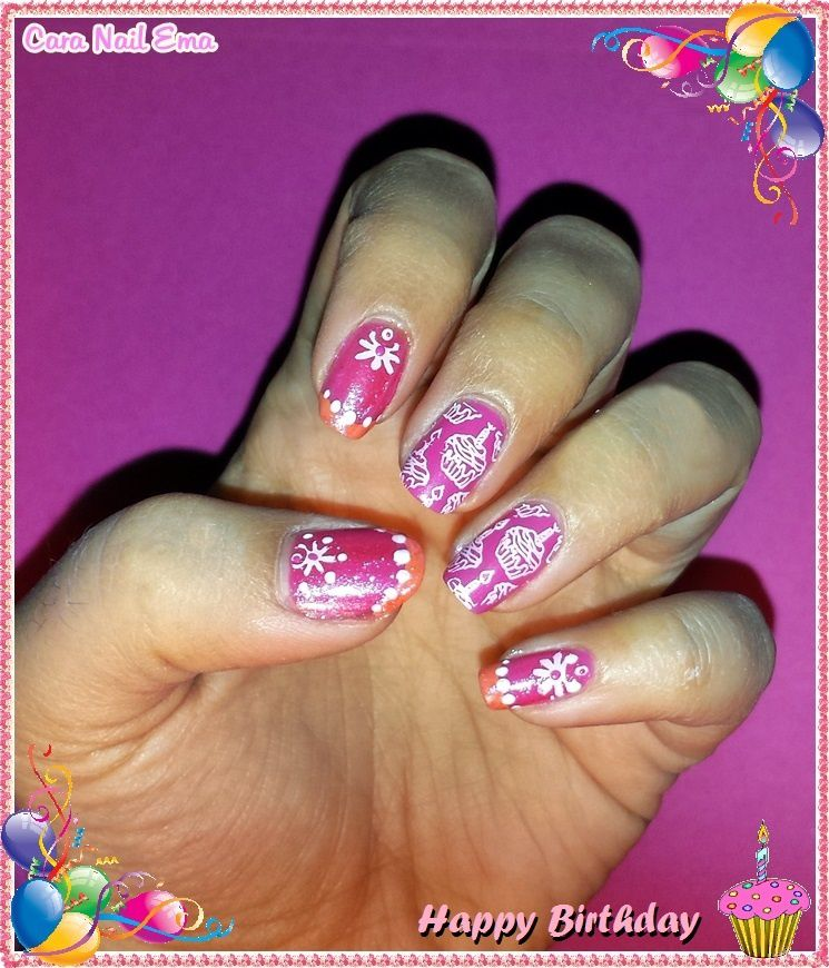 "Nail art challenge ""Happy birthday"""