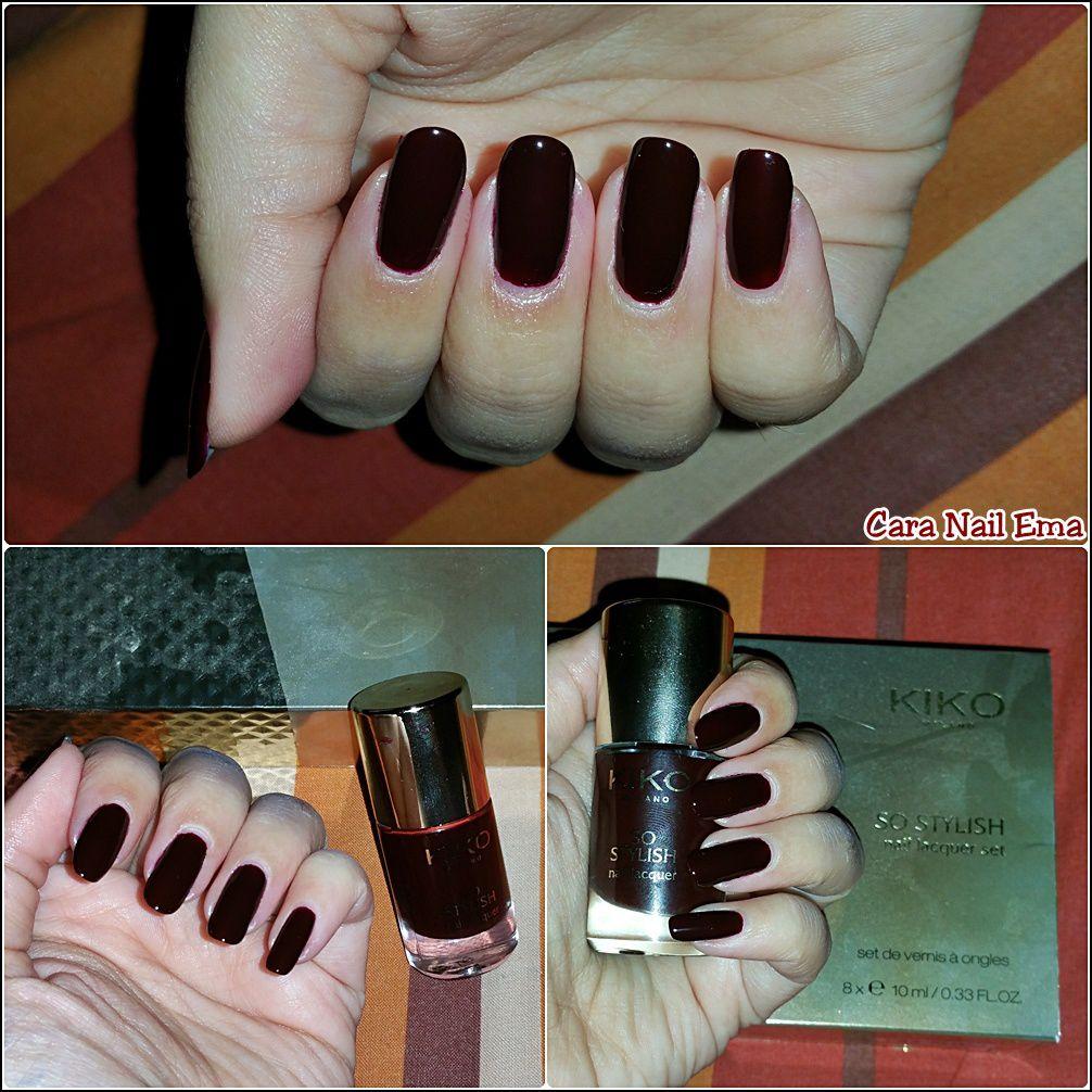 Kiko &quot&#x3B;rouge noir&quot&#x3B; n°4 collection So Stylish et son stamping automnal