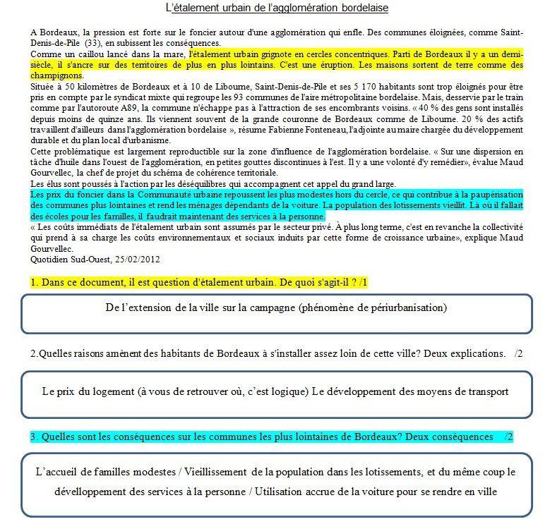 Brevet blanc d'histoire-géo : correction
