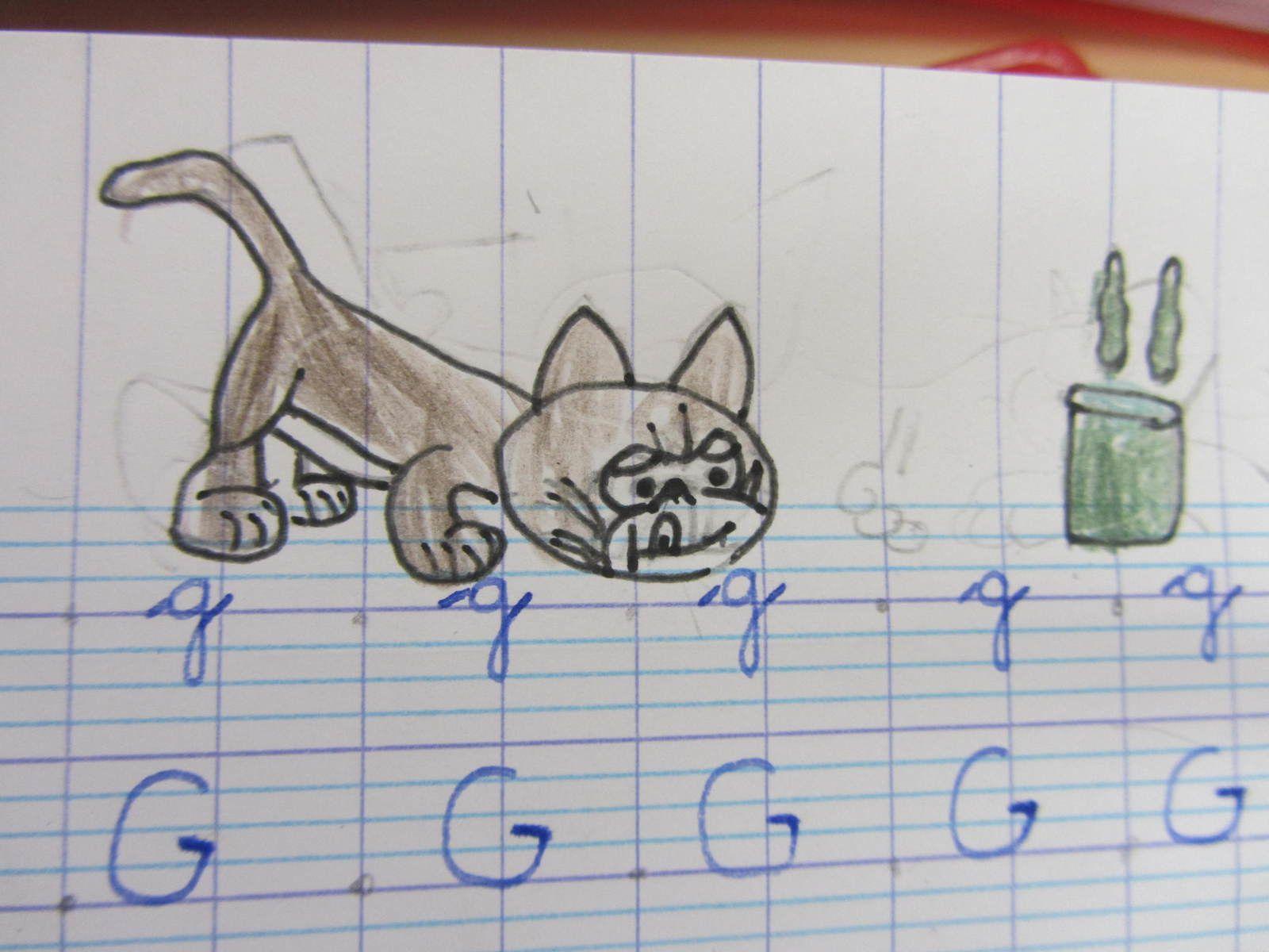 Avec le G de Gargamel: son chat