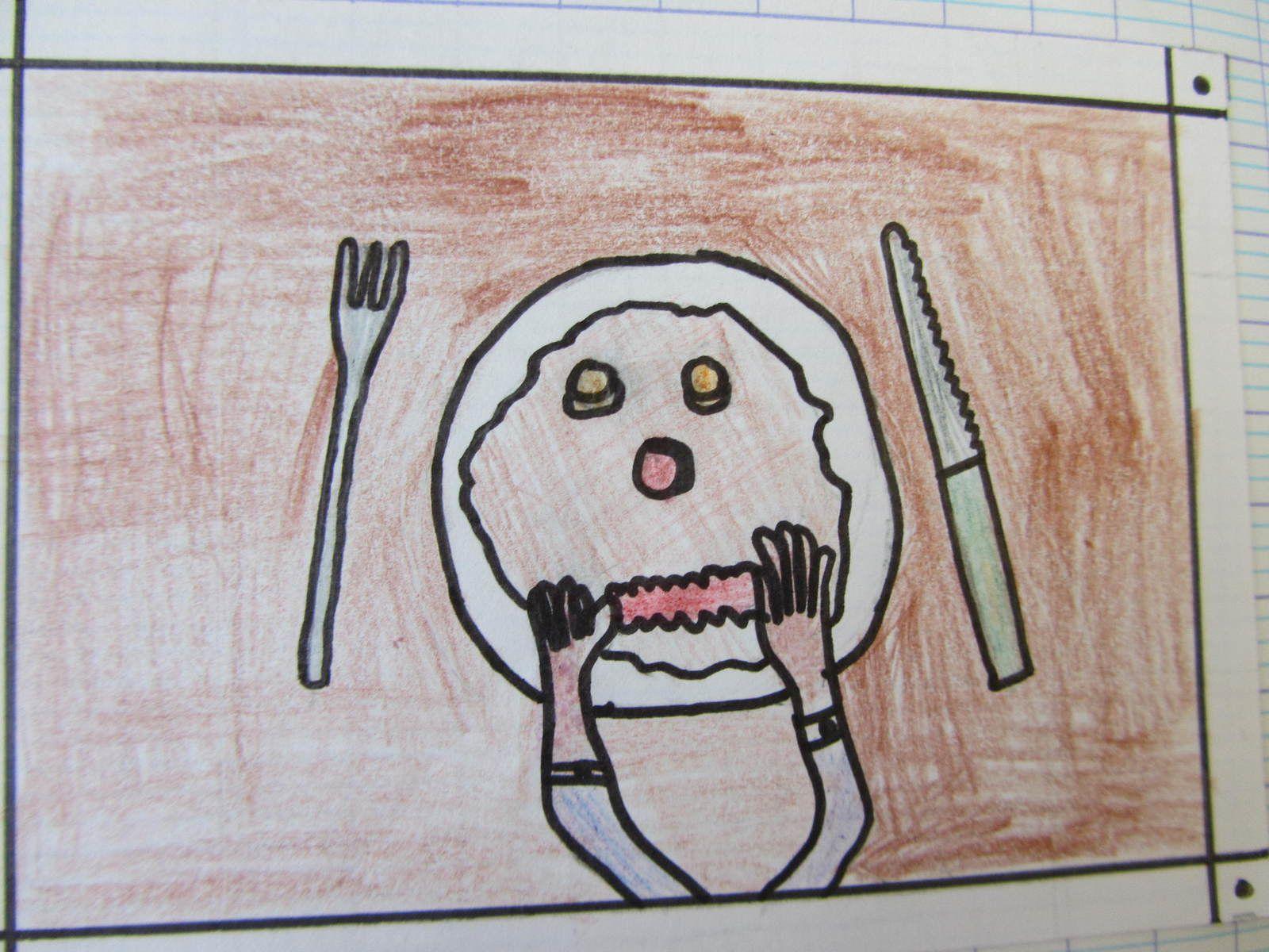 Le petit déjeuner de Pee Wee: il fait parler sa tranche de bacon.