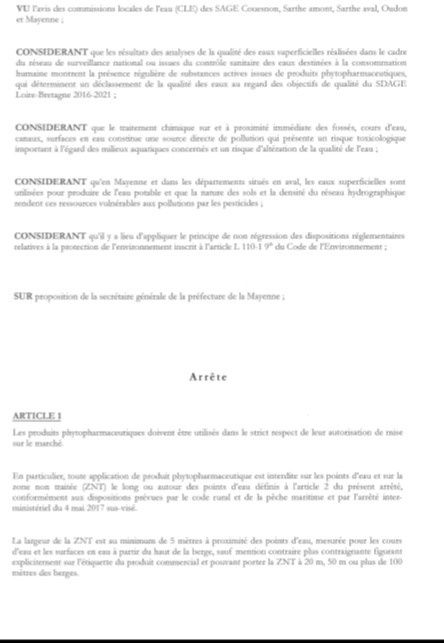 Interdiction d'application de produits phytosanitaires