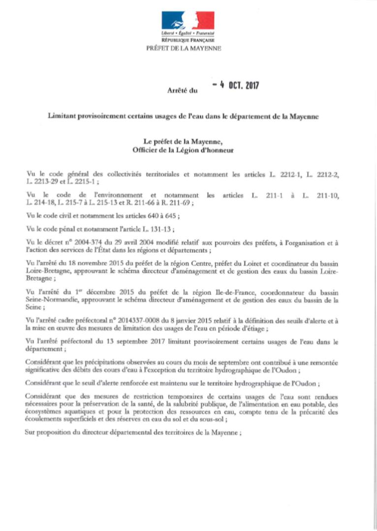 OUDON-Arrêté du 04/10/17-Restriction de l'usage de l'eau