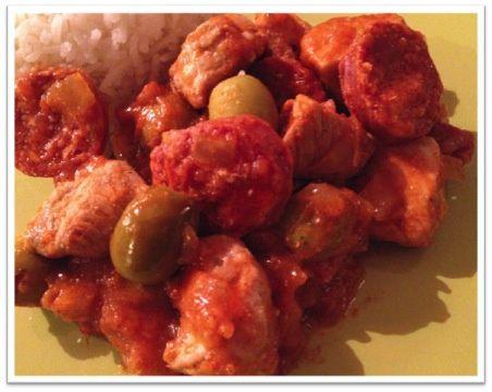 Sauté de porc au chorizo et olives