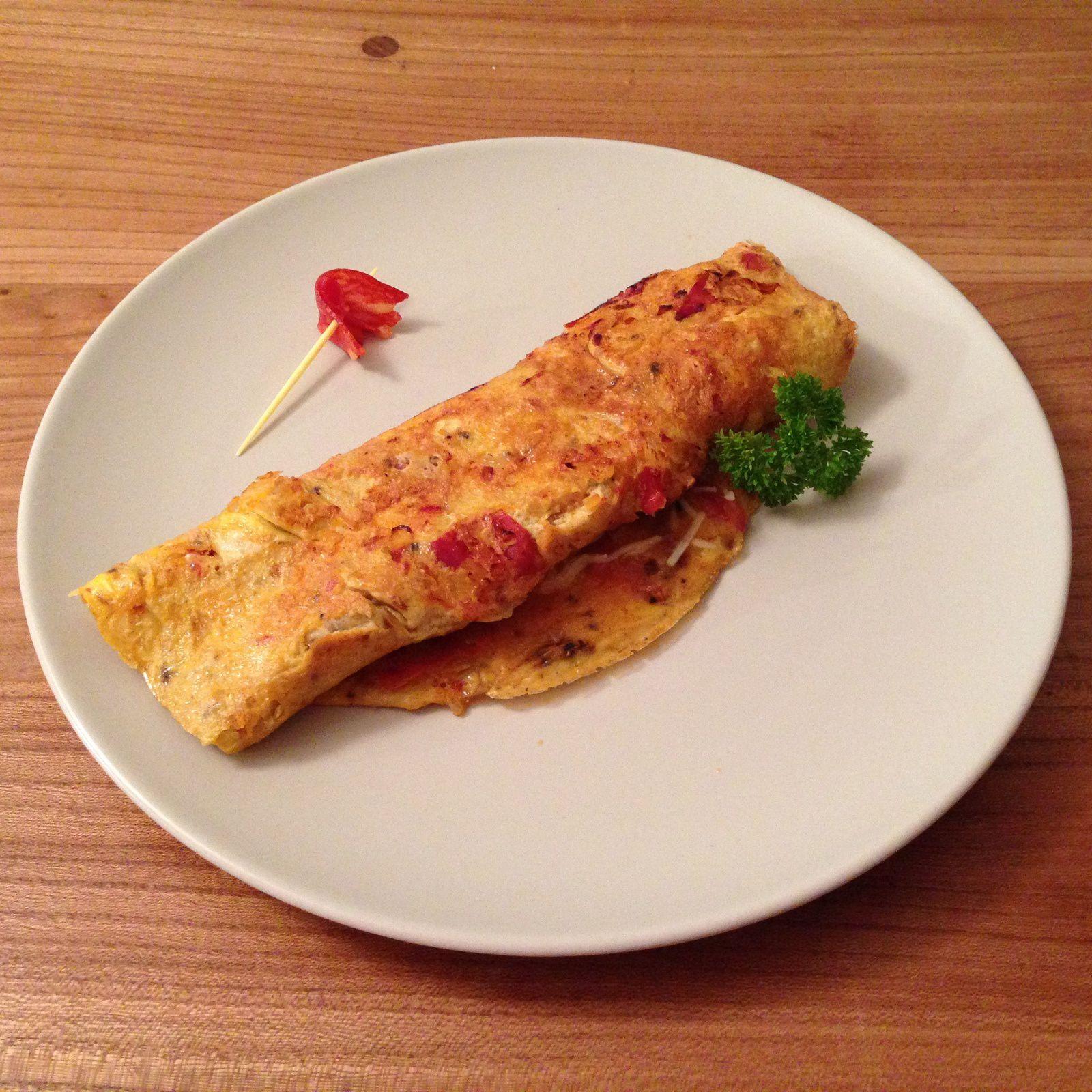 Omelette au chorizo, oignon et paprika