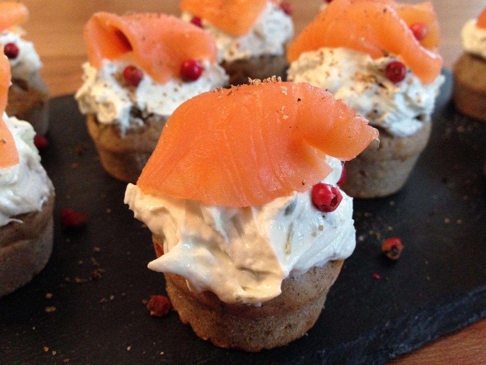 Cupcake au sarrasin et saumon fumé