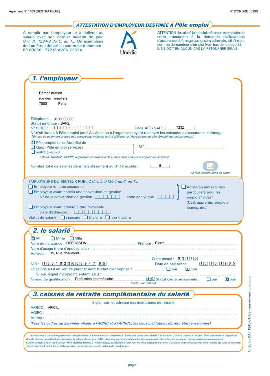 Certificat De Travail Pour Pole Emploi