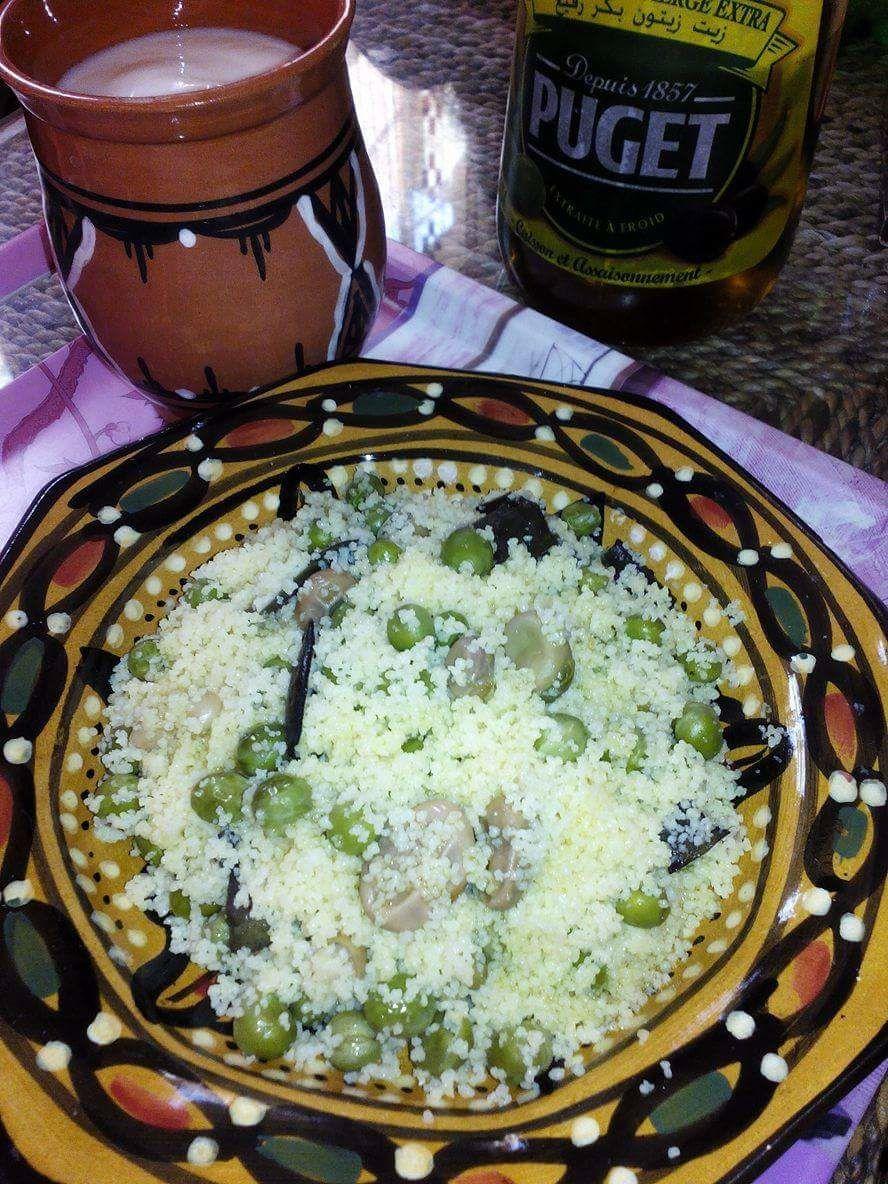 Couscous aux petits pois,fèves fraîches et huile d'olive