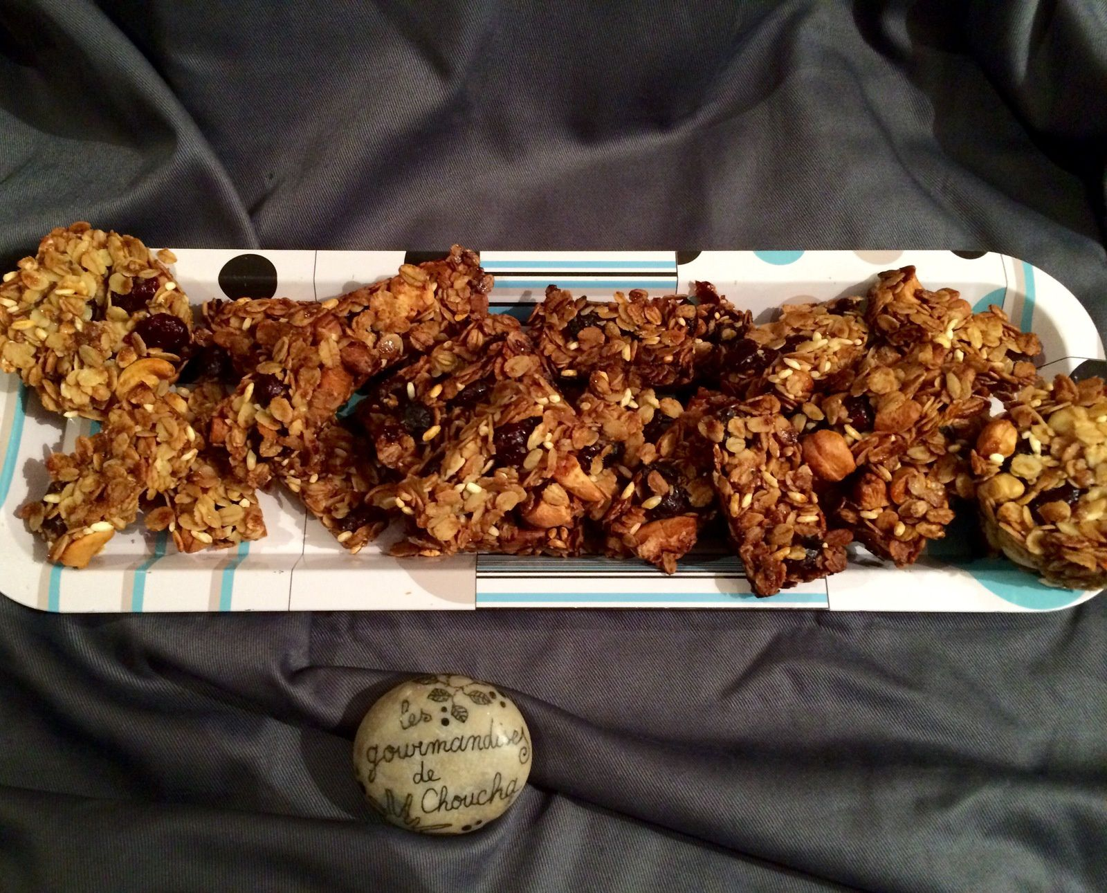 Minis barres de céréales  : cranberries, sirop d'érable, amandes, riz soufflé