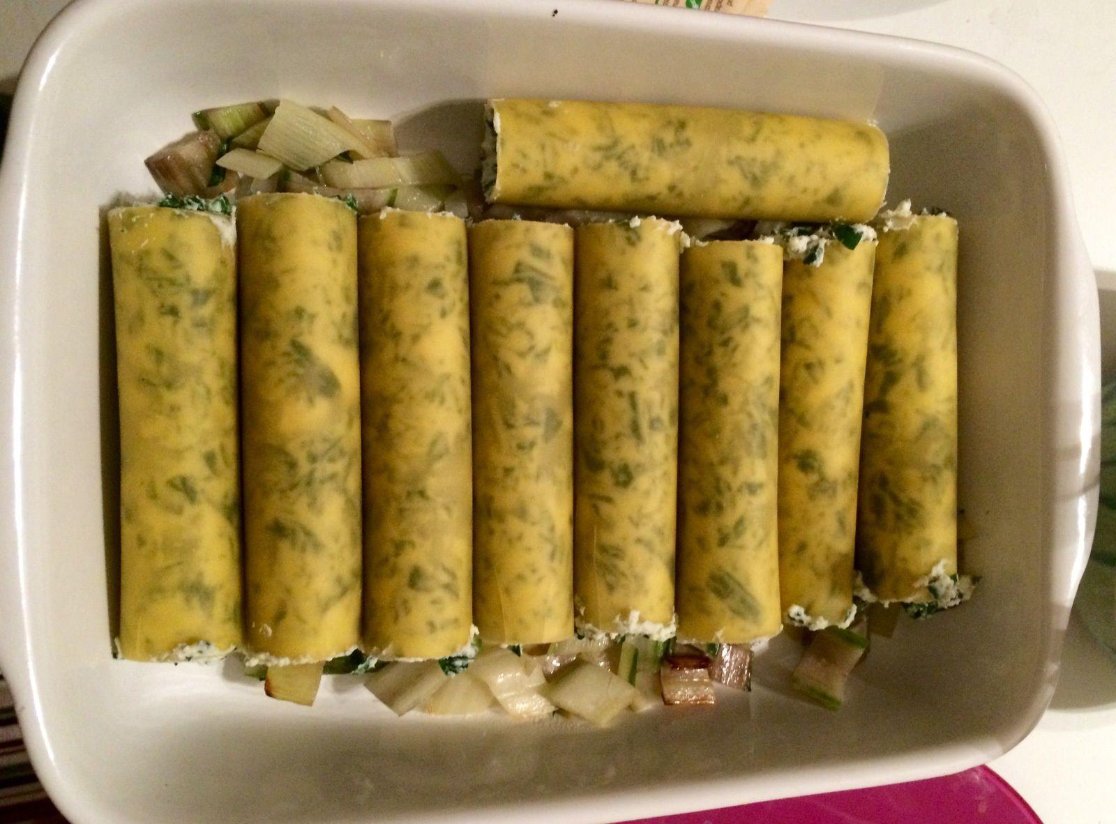 Canneloni ricotta, féta, blettes et sauce tomate