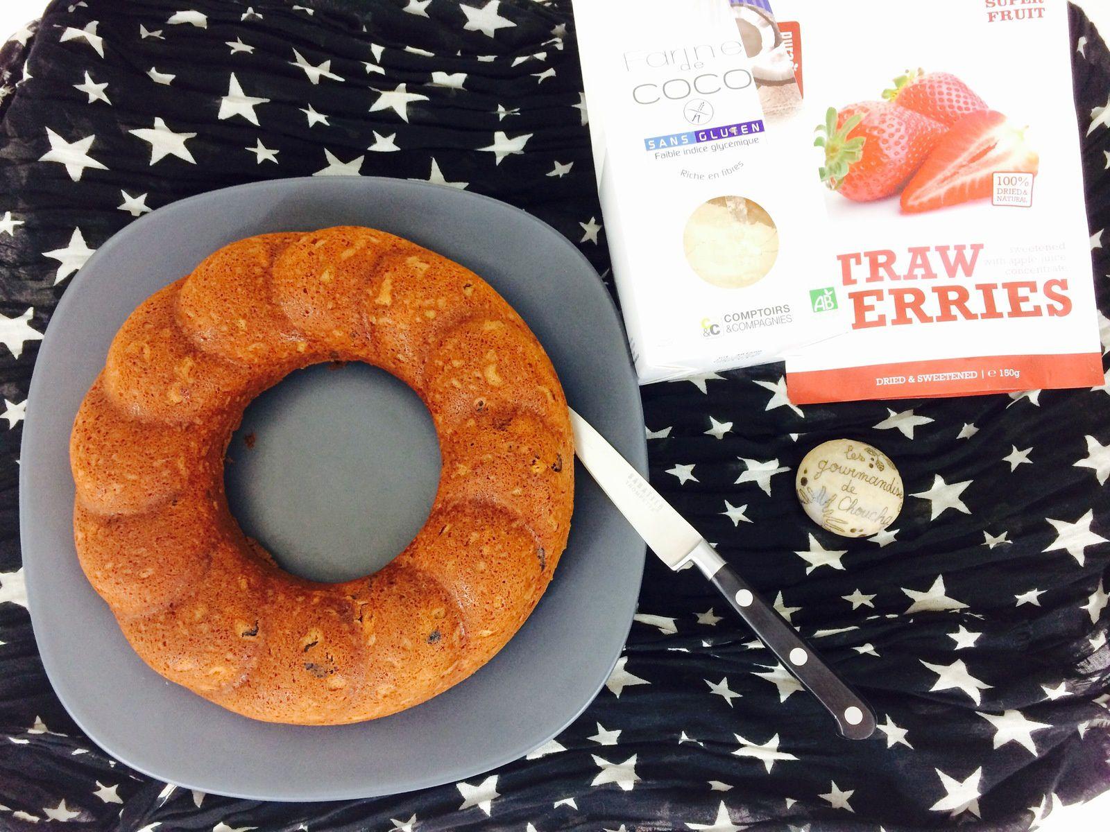 Banana bread et fraises séchées sans gluten  avec mon partenaire Elixanatur.com