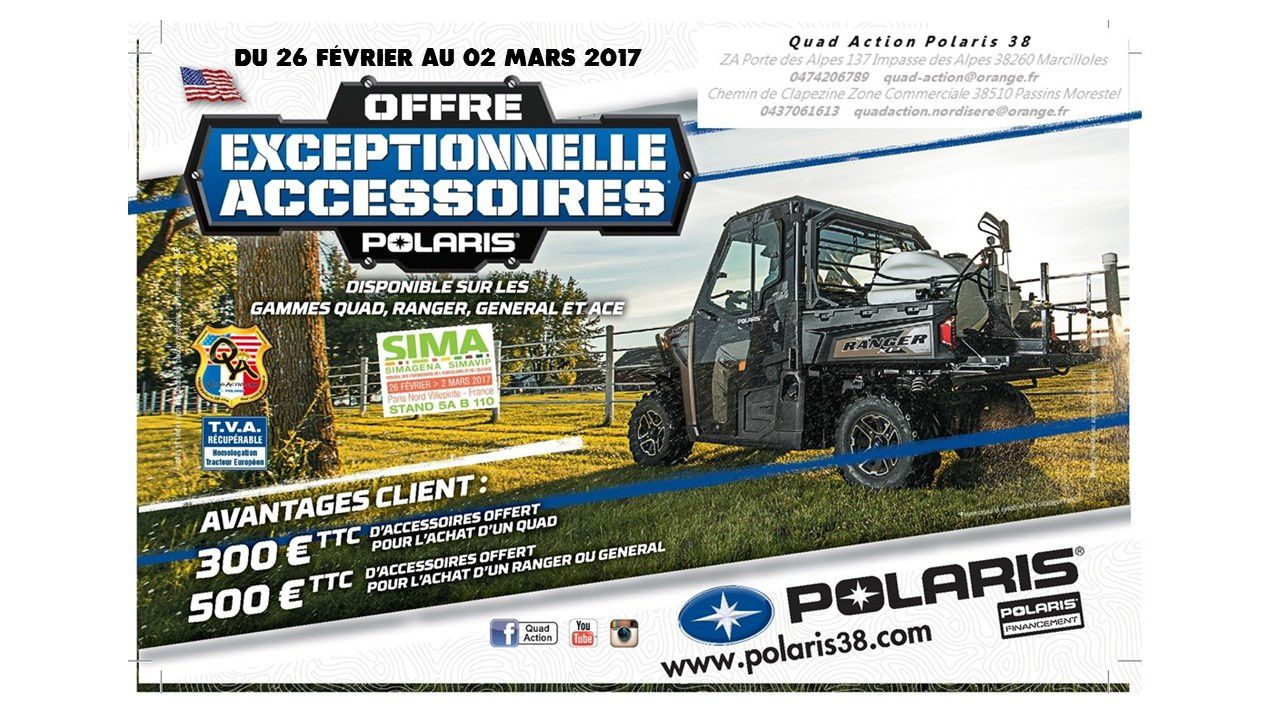 Offre salon de l'agriculture 2017 avezc POLARIS INDUSTRIES et QUAD ACTION POLARIS 38