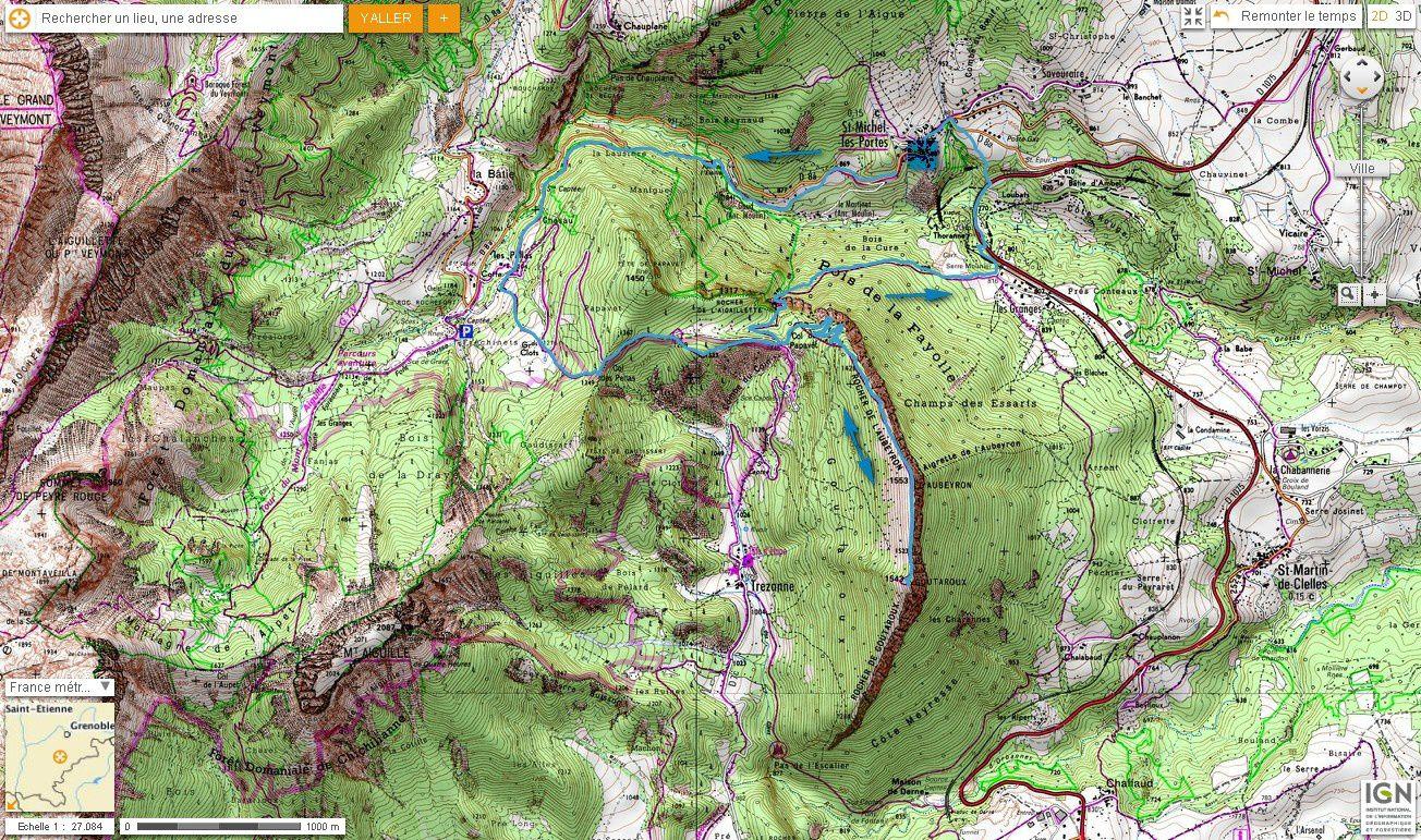 Carte IGN Goutaroux depuis St Michel les Portes (trail)