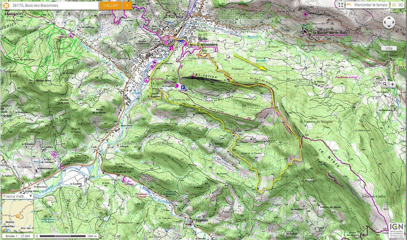 Carte IGN Rochers de Sabouillon (trail)