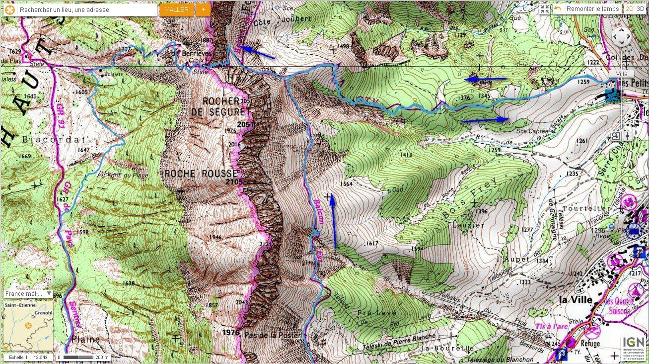 Carte IGN Tour du Sommet de Pierre Blanche (trail) 1/2