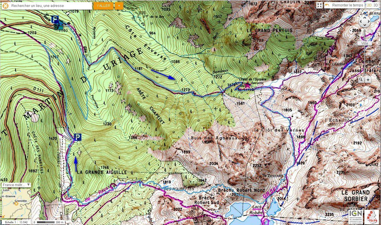 Carte IGN Lacs Robert par la Cascade de l'Oursière (Trail)