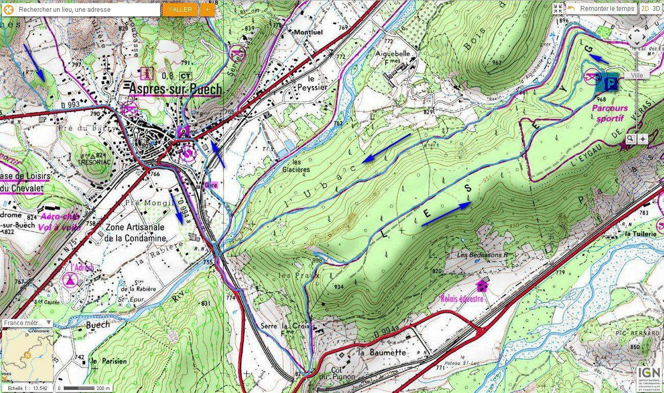 Carte IGN Crête d'Aspres par le plateau des Eygaux (Trail) 1/2
