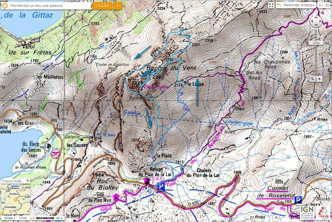 Carte IGN Tour du Rocher du Vent (trail)
