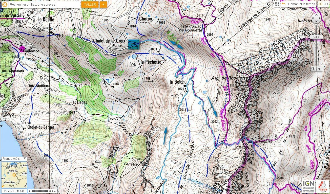 Carte IGN Tour de la Tête de la Cicle (trail) 1/2