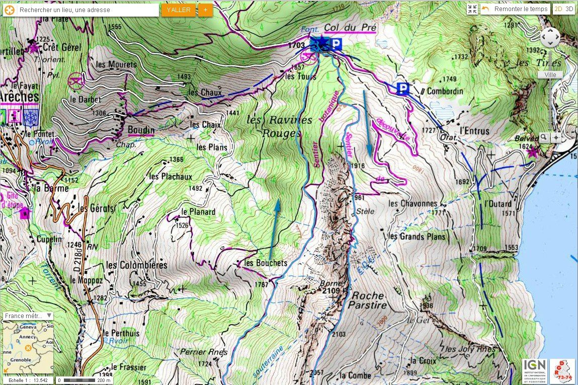 Carte IGN Roche Parstire (trail) 1/2