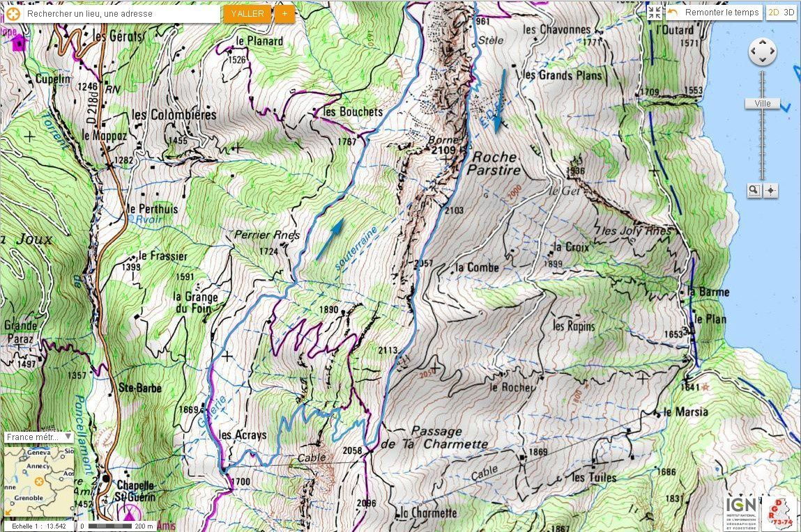Carte IGN Roche Parstire (trail) 2/2