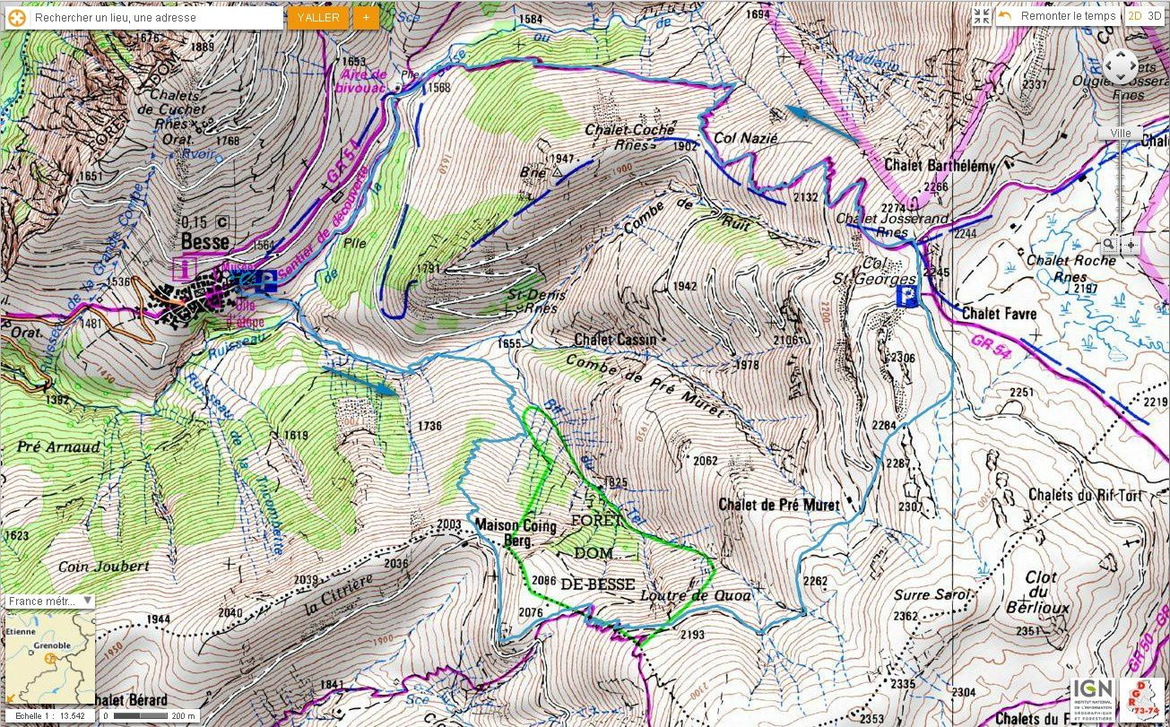 Carte IGN Loutre de Quoa (trail)