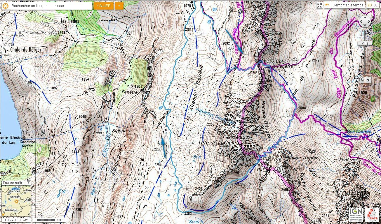 Carte IGN Tour de la Tête de la Cicle (trail) 2/2